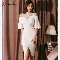 Foamlina Sexy Cold Shoulder Short Flare Sleeve Summer Dress Women Floral Lace Patchwork Bodycon Dress for Party White Dresses