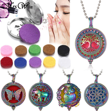 2019 New Aromatherapy Necklace Jewelry Colorful Tree of Life Essential Oil Diffuser Open Perfume Lockets Pendants Gifts