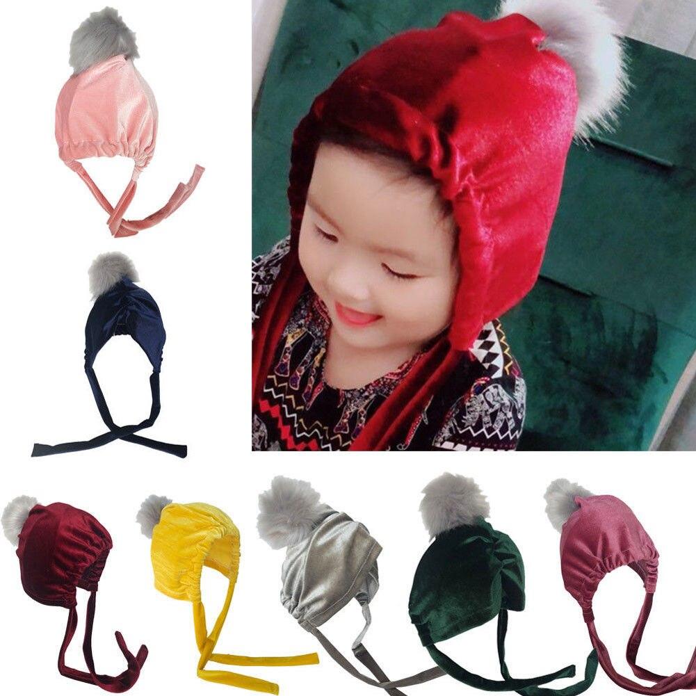 Newborn Winter Warm Adorable Baby Kid Girl Toddler Velvet Crochet Beanie Hat Cap