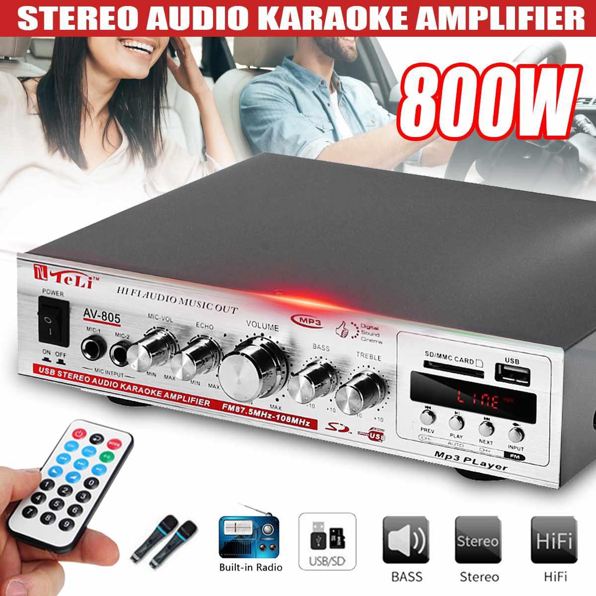 800W 220V 12V 2CH HIFI font b Car b font Amplificador Stereo Power Audio Amplifier FM