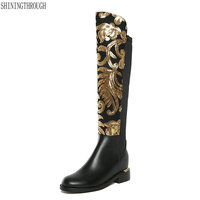 2018 New arrival genuine leather boots women square heel autumn winter women knee high motorcycle boots female shoes