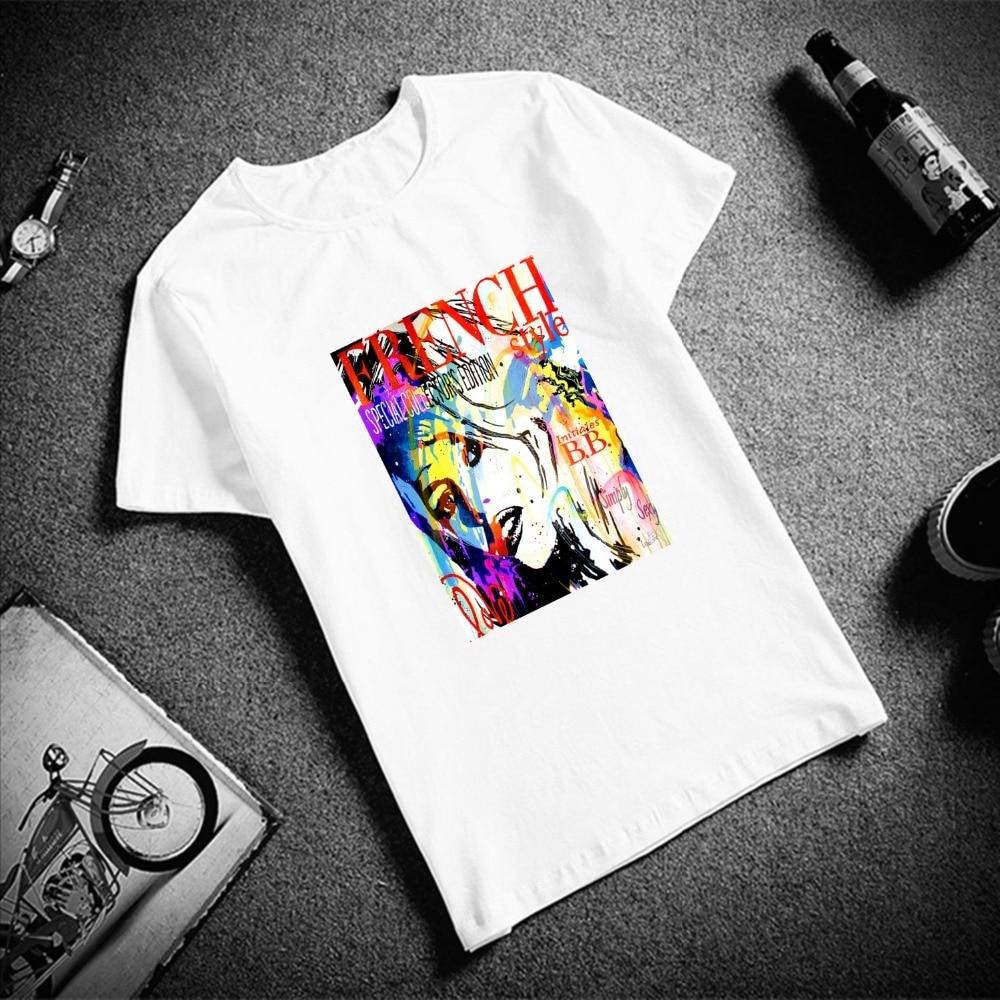 Skipoem Fashion Tshirt  Pop Brigitte Bardot Custom Cotton O Neck T Shirt Plus Size Short Sleeve Brand Female T-Shirt Femme