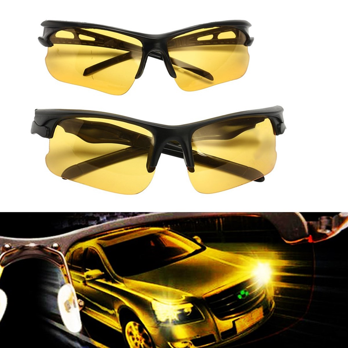 Night Sight Driving HD Glasses Anti-Glare Yellow Sunglasses Eyewear Metal Night Vision Protection Polarized Glasses Car Driving