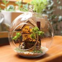 Wooden Handmade Model Gift Toy DIY Island Medium Forest Home, Window Showcase Dream Mini House Glass Ball Lodge