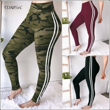 купить Women Sexy High Waist Fitness Skinny Pencil Pants Jogger Leggings Casual Elastic Sport Trousers Bodycon Trousers Side Striped по цене 1317.6 рублей
