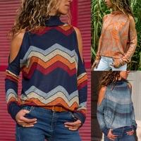 T shirt women O neck strapless long sleeve geometric print ladies knit top camisetas verano mujer 2019 tee shirt femme