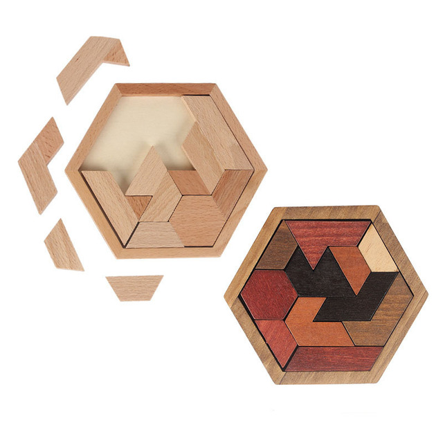 Wood Hexagon Jigsaw Puzzle Game Geometric Shape Cognitive Wooden Puzzles Adult Children Early Educational Toys for Kids LL-E105