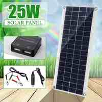 Portable 25W 12V panneau solaire Double USB batterie externe conseil batterie externe charge solaire panneau de cellule Crocodile Clips chargeur de voiture