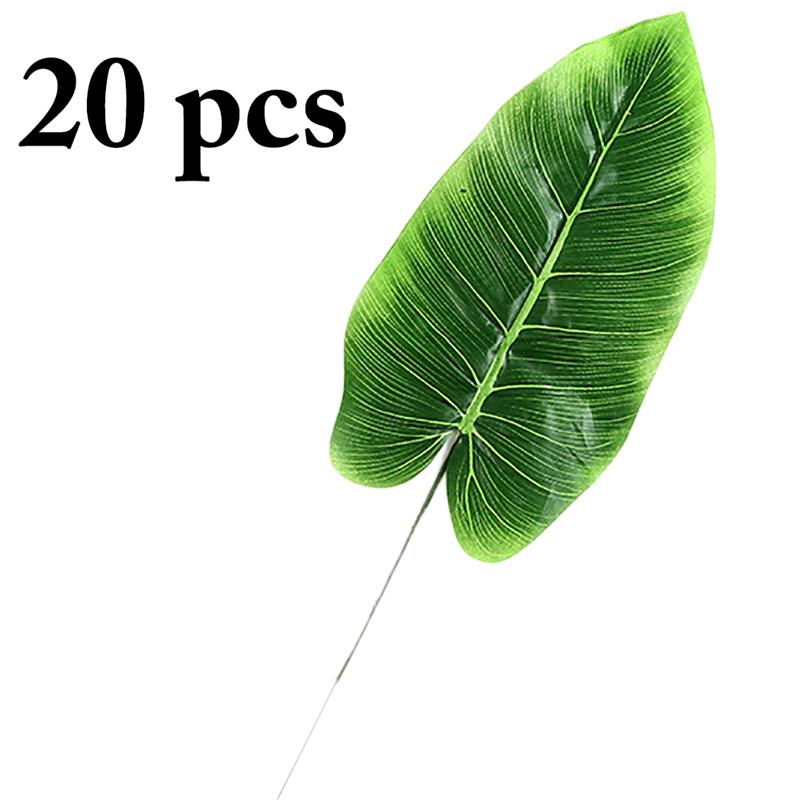 20PCS Artificial Leaf Lifelike Banana Leaf Decorative Fake Leaf Artificial Plant Hawaiian Party Decoration Supplies