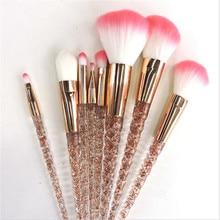 Crystal 8 PCS Unicorn Brush Makeup Set Nylon Hair Eyebrow Eyeshadow Powder Rose Golden Portable Brushes maquiagem