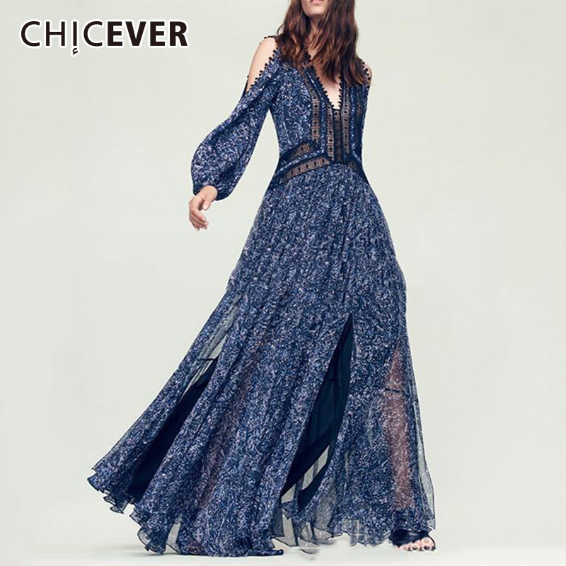 CHICEVER Sexy Off Shoulder Autumn Dresses For Women 2019 V Neck Long Sleeve High Split Patchwork