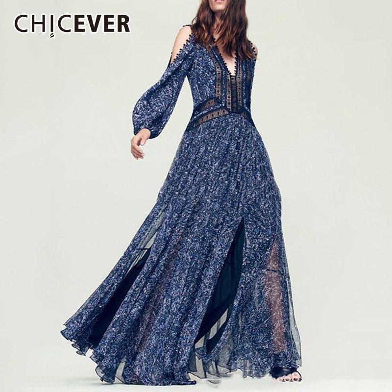 CHICEVER Sexy épaule dénudée automne robes pour femmes 2018 col en V à manches longues haute Split Patchwork robe femme Europe Style nouveau