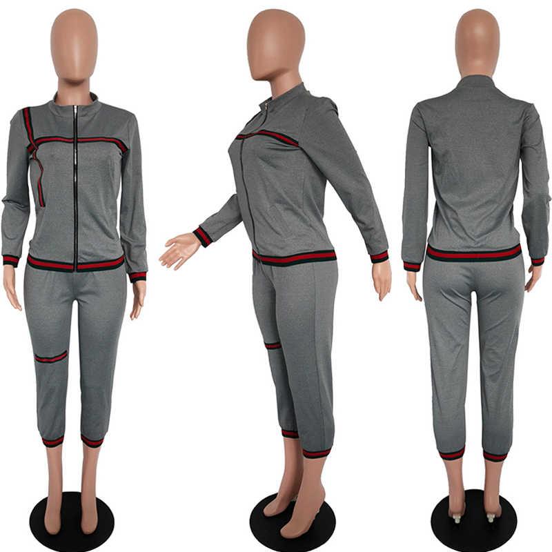 שתי חתיכה סט טרנדי אימונית טרנינג בתוספת גודל מכנסיים אצן נשים ארוך שרוול Fashionnova מכנסי טרנינג חורף רחוב אנסמבל