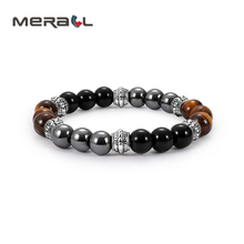 Bracelet Slimming Natural Magnetic Hematite Stone Weight Loss Fat Burning Anti Cellulite M