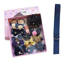 18Pcs/Set Childrens Hair Jewelry Set Cute Girls Gift Box Rubber Band Clips Ribbons Accessories