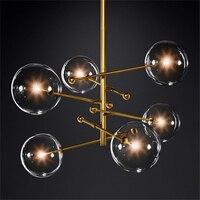 Nordic Glass LED Chandelier Lighting Bedroom Living Room LED Chandelier Interior Hanging Lamps Glass Ball Avize Kitchen Fixtures