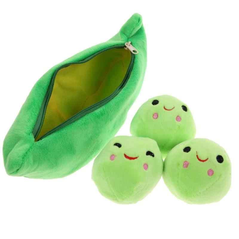New Attraente Bella Verde Pisello Pianta di Fagioli Peluche Carino Sorriso Palle Con Il Sacchetto di Peluche Giocattoli di Peluche Per I Bambini di Compleanno Per Bambini regalo