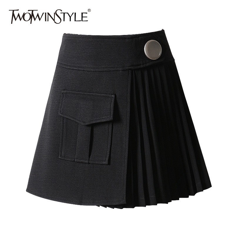 TWOTWINSTYLE Patchwork Pleated Skirts For Women Button High Waist Short Women's Skirt 2020 Summer Elegant Fashion New