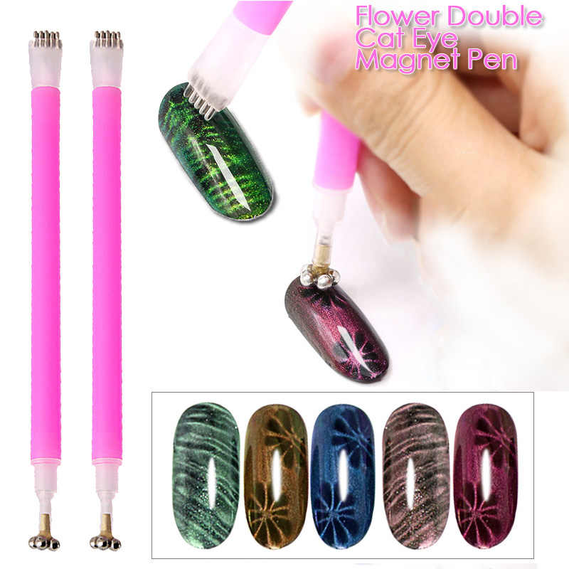 Yinikiz 1 PC Double Kepala 3D Cat Eye Magnet Nail Stick Set untuk Uv Gel Lukisan Cat Kuku Gel magnetic Pen