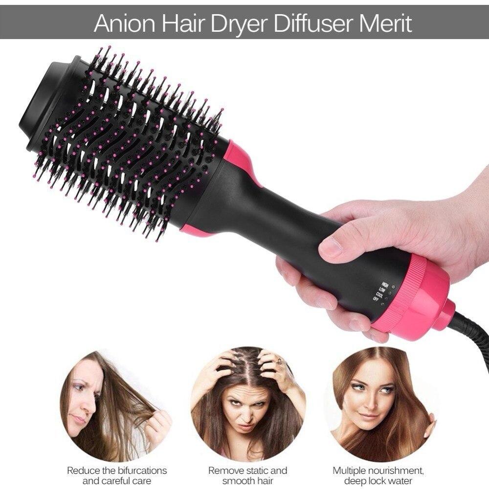 2 en 1 multifuncional secador de pelo y voluminizador de pelo caliente cepillo rizador de rotar Styler peine estilo rizador