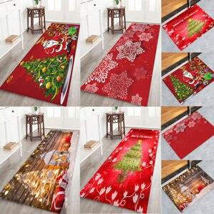 Image 2 - Hot Sale Christmas Floor Mat Santa Claus Flannel Carpet Rug Non Slip Xmas Decor 5 Sizes
