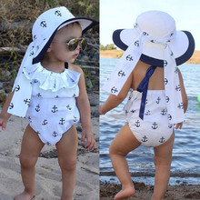 Baby Girl Ruffle Anchor Print Romper Outfits 0-24M