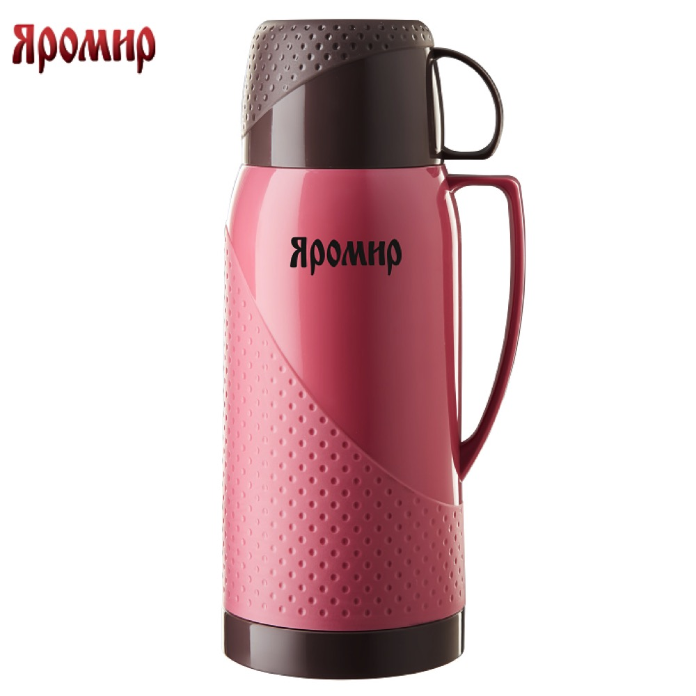 Vacuum Flasks & Thermoses Yaromir YAR-2023C Pink/Brown thermomug thermos for tea keep сup stainless steel water mug food flask 9 stainless steel food utility tong