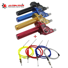 Buy Alconstar- 4 Color Adjusterable Motorcycle Throttle Grips Twist Gas with Throttle Cable For Kawasaki KTM 50-250CC Dirt Pit ATV directly from merchant!