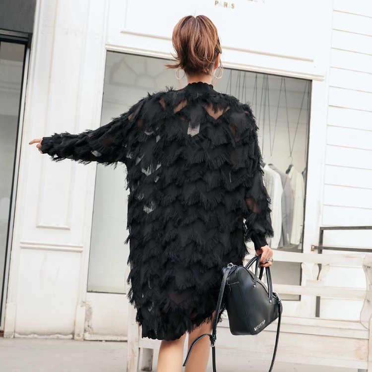 QING MO женское черное платье с перьями 2019 весенняя одежда длинный рукав Темперамент Половина Высокая свинцовая кисточка шифоновое платье для женщин QF560