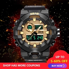 Men's Casual Watch Dual Display Sports Watches Waterproof Multifunction Electronic Watches Free Shipping Sale