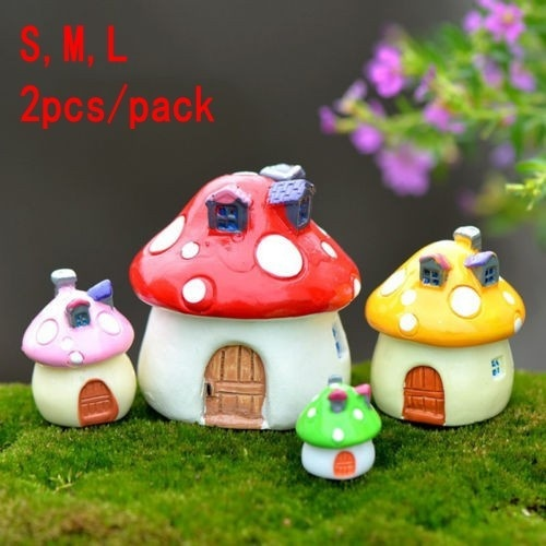 Fairy Home Garden Decoration Miniature Big Mushroom House Ornament Potted Plant Craft 2pcs/pack
