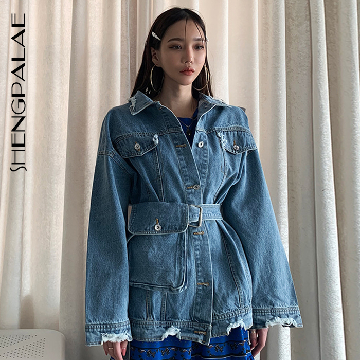 SHENGPALAE Loose Korean Fashion Female Jackets Stand Collar Long Sleeve Irregular With Belt Bag 2019 New