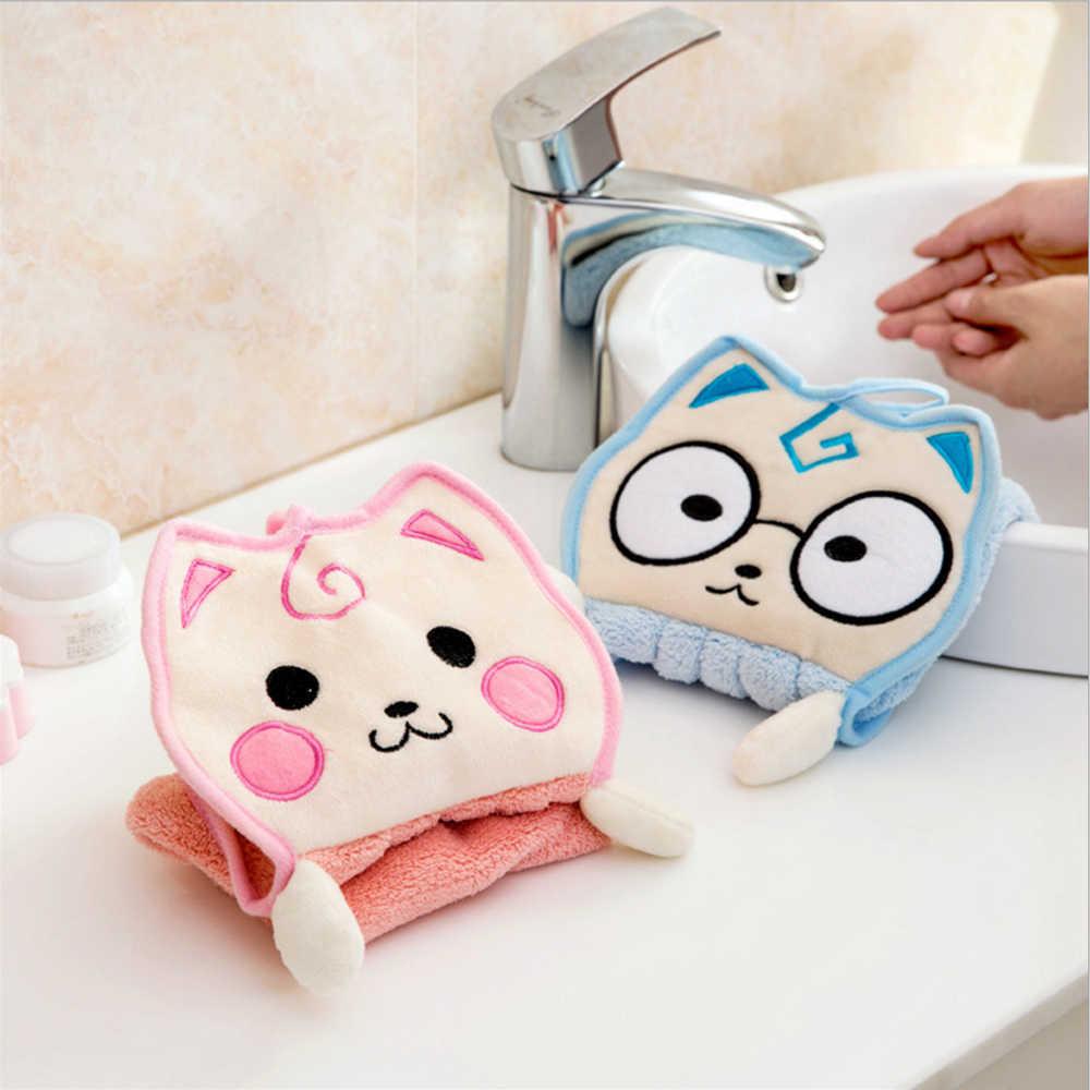 Assorbimento di acqua Panno Poliestere Asciugamano Per Cucina Bagno di Colore Della Caramella Strofinacci Fazzoletto Fumetto Gatto Appeso Asciugamani per le mani