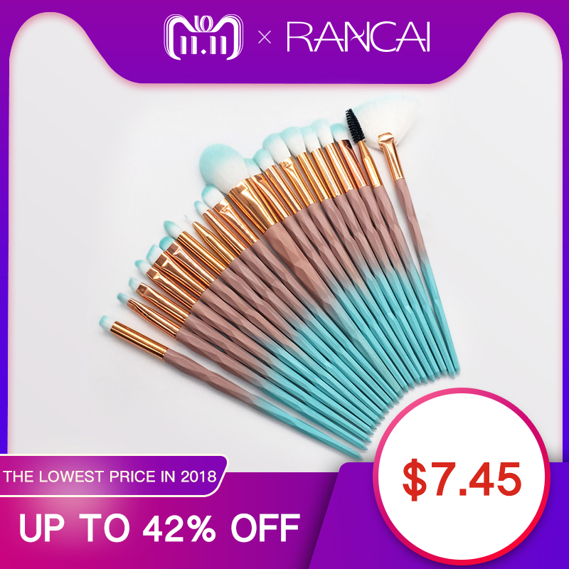 RANCAI 20pcs Diomand Makeup Brushes Set Powder Eye Shadow Foundation Blend Blush Lip Cosmetic Beauty Soft Make Up Brush Tools maange 7 20pcs diamond makeup brushes set powder foundation blush blending eye shadow lip cosmetic beauty make up brush tool kit