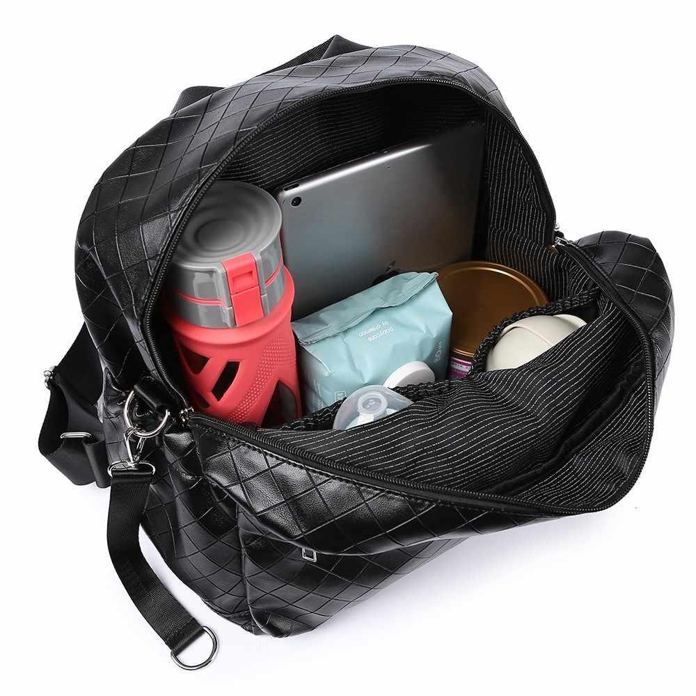 Soboba negro Plaid bolsa de pañales de gran capacidad elegante bolsa de cochecito de bebé de viaje breve mochila de maternidad bolsa de moda para mamá