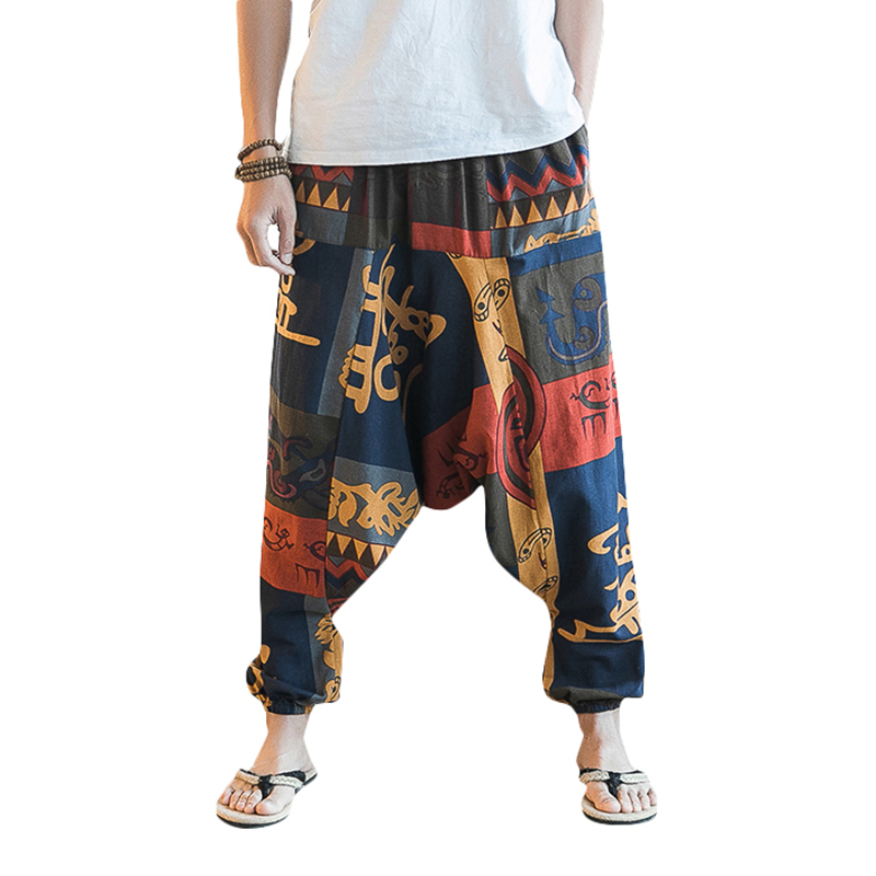 Retro Loose Cotton Haren Pants Men Ethnic Style Street Dance Wear