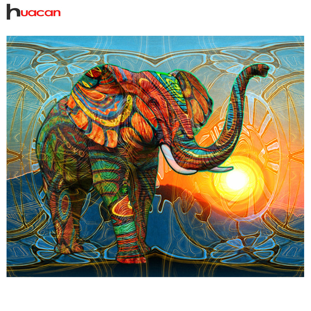HUACAN Full Square Diamond Mosaic Cross Stitch Elephant Wall Art Painting DIY 5D Diamond Embroidery Sets Needlework Craft GiftHUACAN Full Square Diamond Mosaic Cross Stitch Elephant Wall Art Painting DIY 5D Diamond Embroidery Sets Needlework Craft Gift