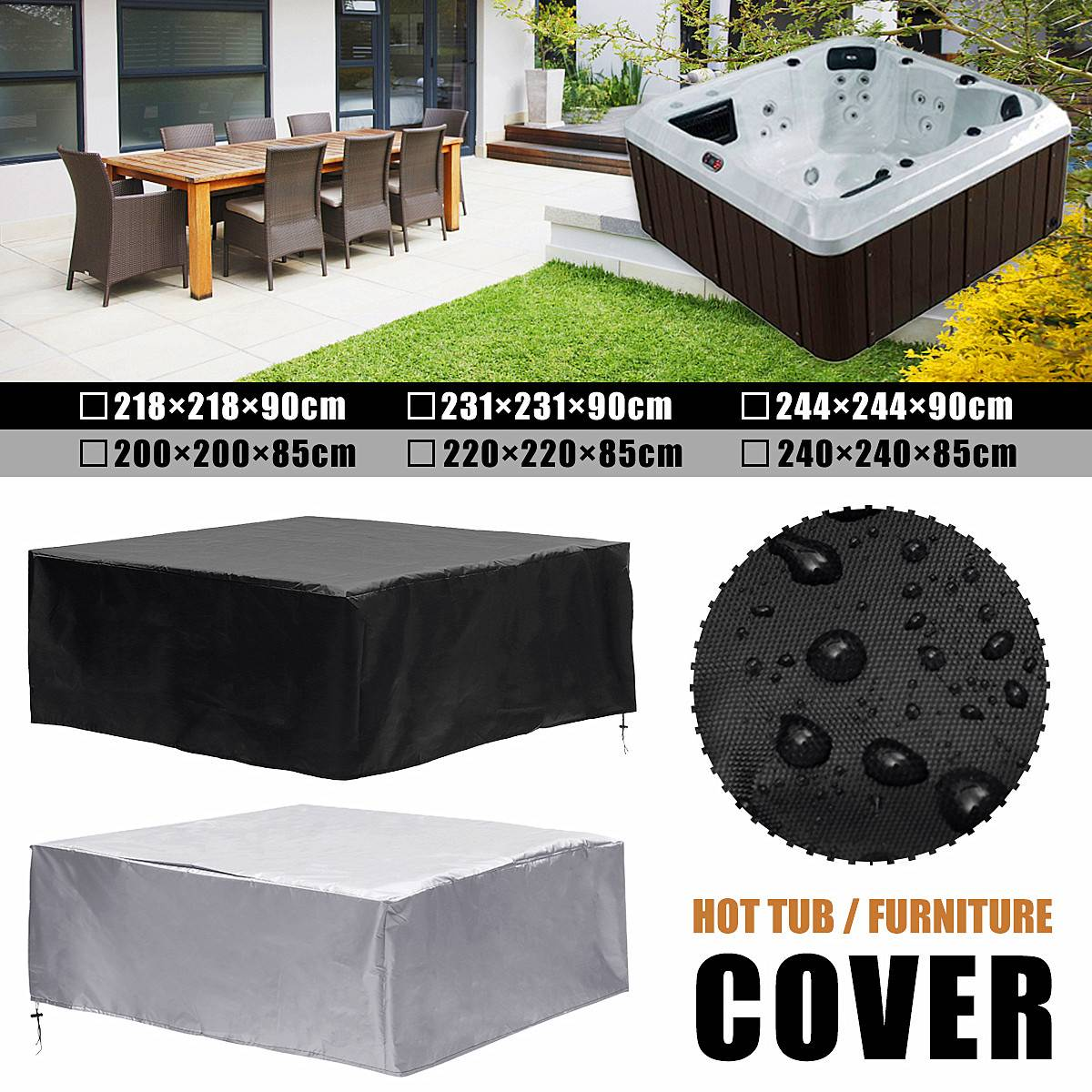 218/231/244*90cm 200/220/240*85cm Hot Tub Dust Cover Durable Anticorrosive Anti-uv Dust-proof Heat-resistant And Cold-resistant218/231/244*90cm 200/220/240*85cm Hot Tub Dust Cover Durable Anticorrosive Anti-uv Dust-proof Heat-resistant And Cold-resistant