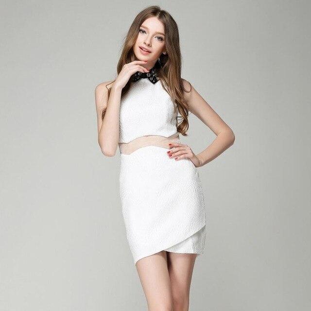 #2787 Summer Nail Pearl Doll Collar See Through Dress Mini Temperament Elegant Sleeveless Split Joint Mesh Pencil Dress Women