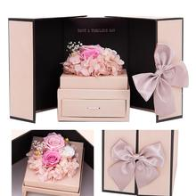 Romantic Valentines Day Christmas Gifts Creative Everlasting Flower Gift Box Roses Preserved Jewelry