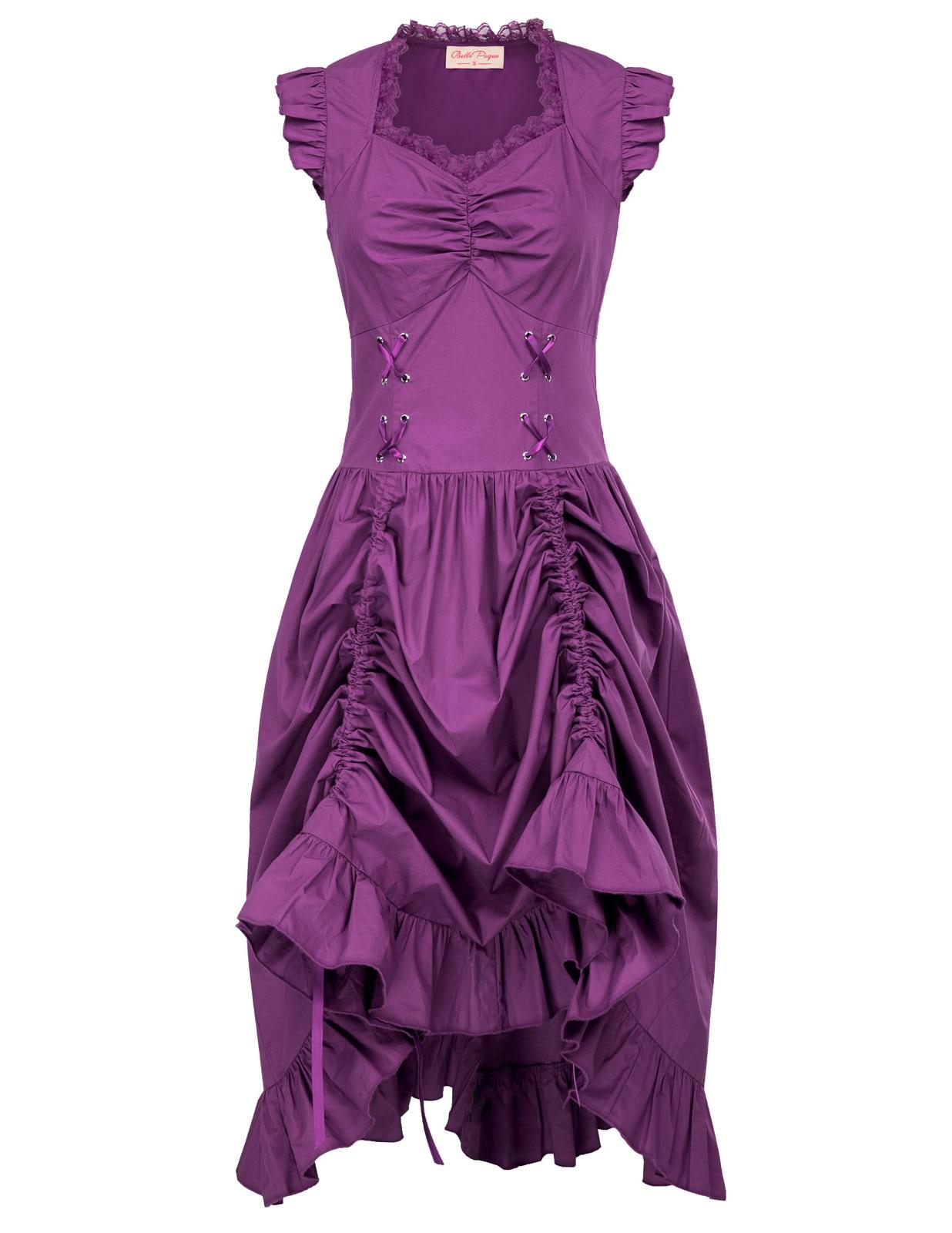 Belle Poque Black V neck Drawstrings Waist Vintage 50s Gothic Victorian Dress