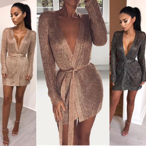 2019 Brand Summer Sexy Women Dress Long Sleeves Hollow Out Dress Ladies V-neck Lace-up Women Dress