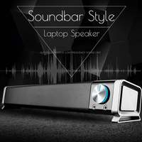 Portable Laptop/Computer/PC Speaker USB Mini Laptop Speaker Subwoofer Soundbar for Tablet 5V Sound Bar Stick Music Player Black