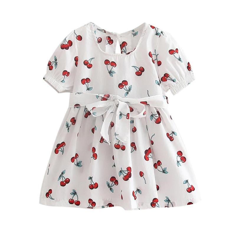 Cute Fruit Cherry Print Cotton Summer Dress Girl Kids Short Sleeve SundressCute Fruit Cherry Print Cotton Summer Dress Girl Kids Short Sleeve Sundress