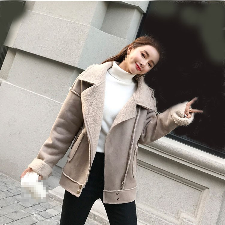 New 2018 Winter Women Biker Jacket Short Lamb Faux   Suede     Leather   Jacket Thick Motorcycle Warm Coat
