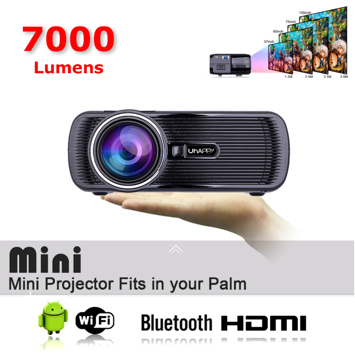 Mini WIFI 7000 Lumen 1080 P 3D HD LED Portatile Proiettore Home theater CinemaMini WIFI 7000 Lumen 1080 P 3D HD LED Portatile Proiettore Home theater Cinema