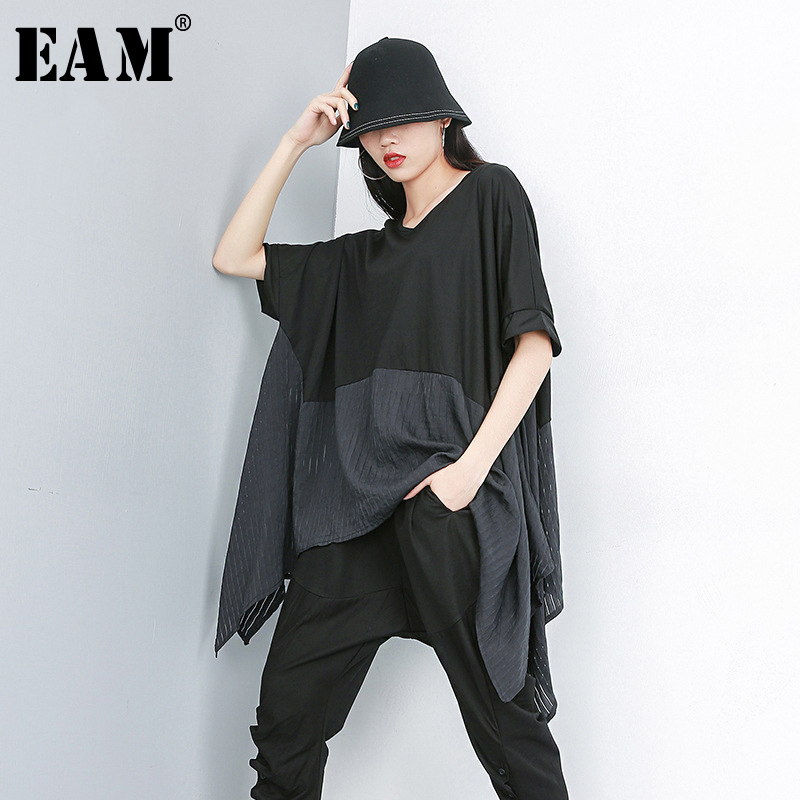 [EAM] 2020 New Spring Summer Round Neck Half Sleeve Back Hit Color Oversize Irreuglar Big Size T-shirt Women Fashion JS953