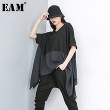 [Eam] 2020春夏新作ラウンドネック半袖バックヒットカラー特大irreuglarビッグサイズのtシャツ女性ファッションJS953