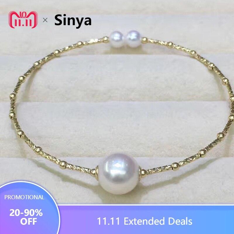 Sinya Naturale perle 18 k AU750 tubo oro Braccialetti del braccialetto per le donne della ragazza Mamma amante di lunghezza di circa 17.5 cm perla diametro di 9-10 cm