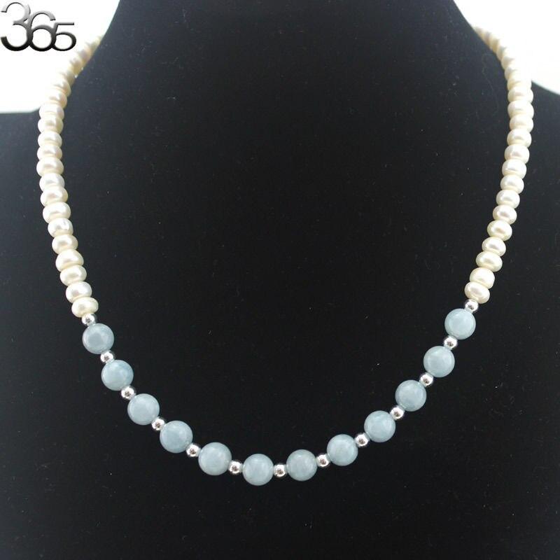 Livraison gratuite naturel rond Aqua & Rondelle blanc perle 925 argent artisanat fermoir collier 18 pouces